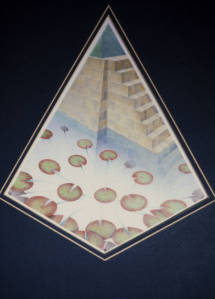 Pyramidical drawing. Coloured pencil on ivory board. 1980.
