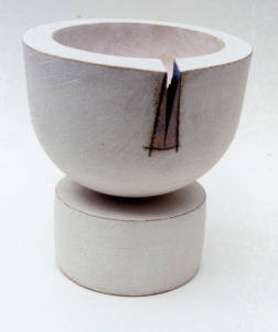 Pedestal bowl. Press moulded and thrown and turned ironstone. 1987.