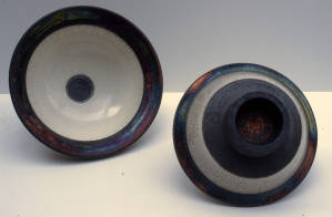 Raku bowls. Thrown and turned raku body, 1992