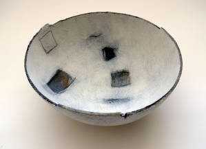 Bowl in the form of a lost landscape. Hammock moulded ironstone bowl.