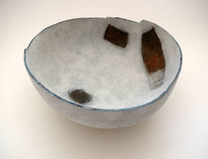Bowl in the form of a lost landscape 2. Hammock moulded ironstone bowl.