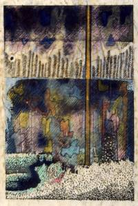 Conjectured Landscape. Watercolour, coloured pencil and ink on photocopy. 1983