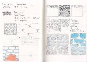 Notebook. Pebbles/clouds. Pencil and coloured pencil on paper. 2013