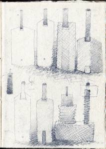 Notebook. Extended bottle. Pencil on paper. 2000